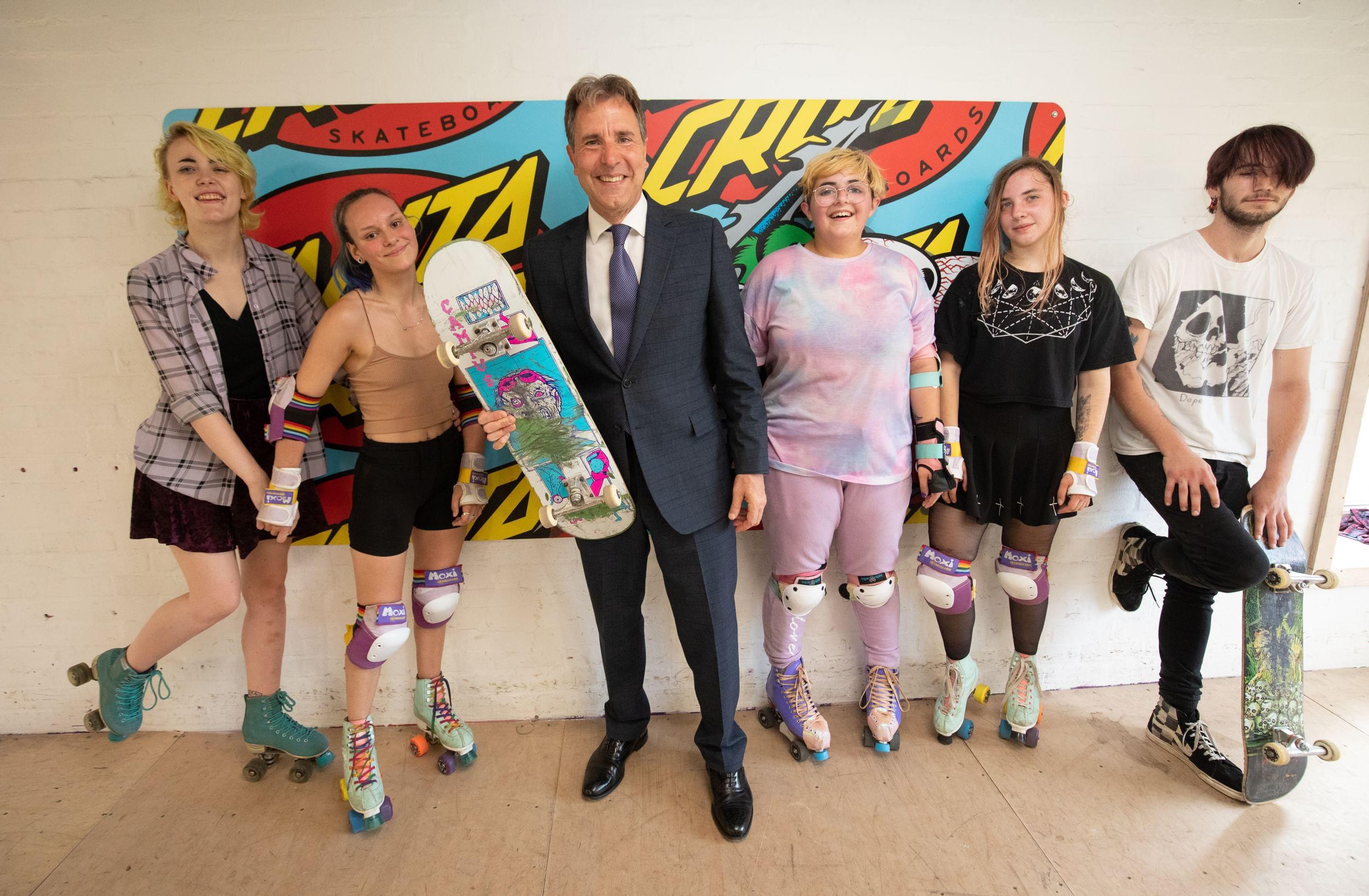 Metro Mayor Dan Norris with skateboarders