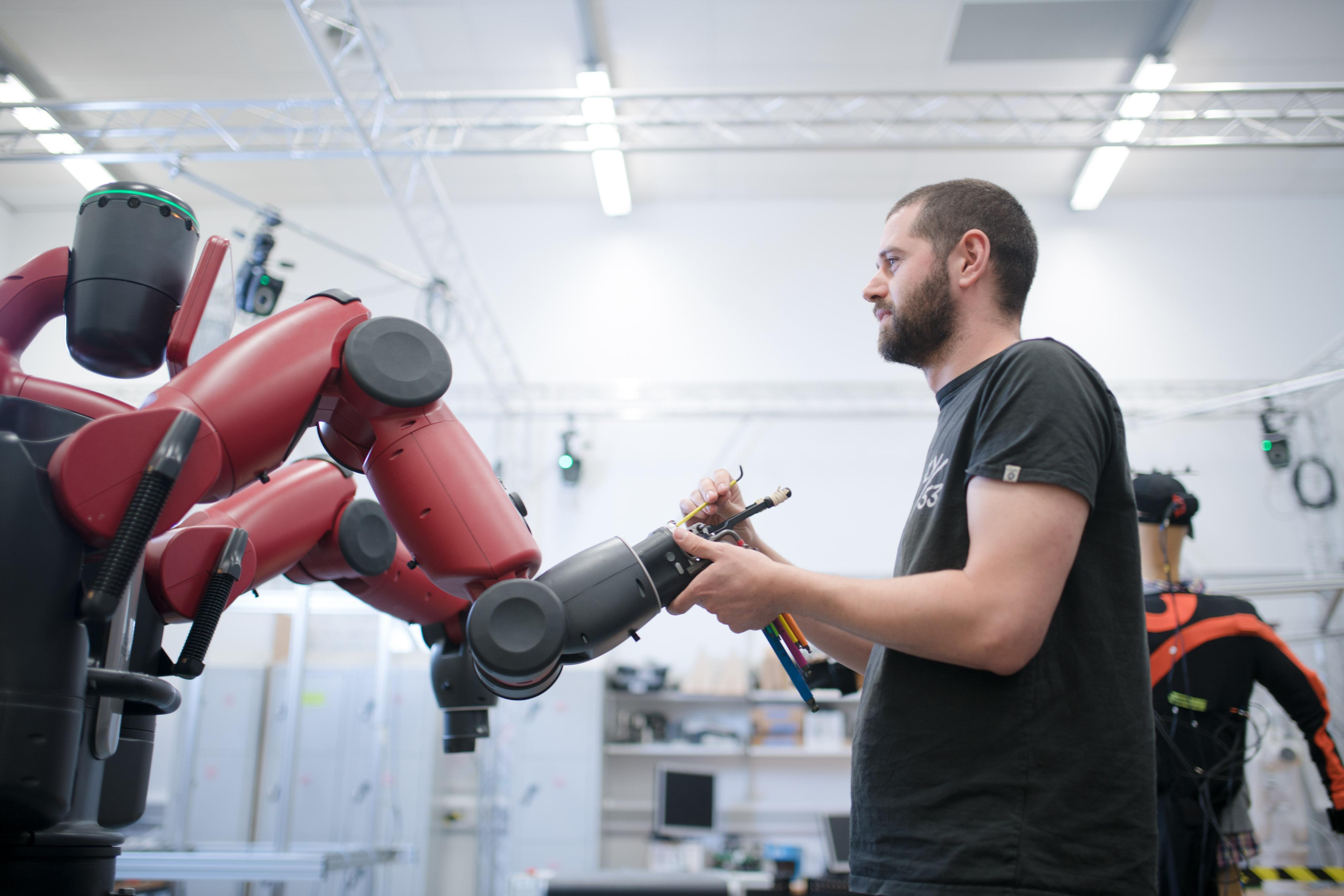 Man and machinery at Bristol Robotics Laboratory