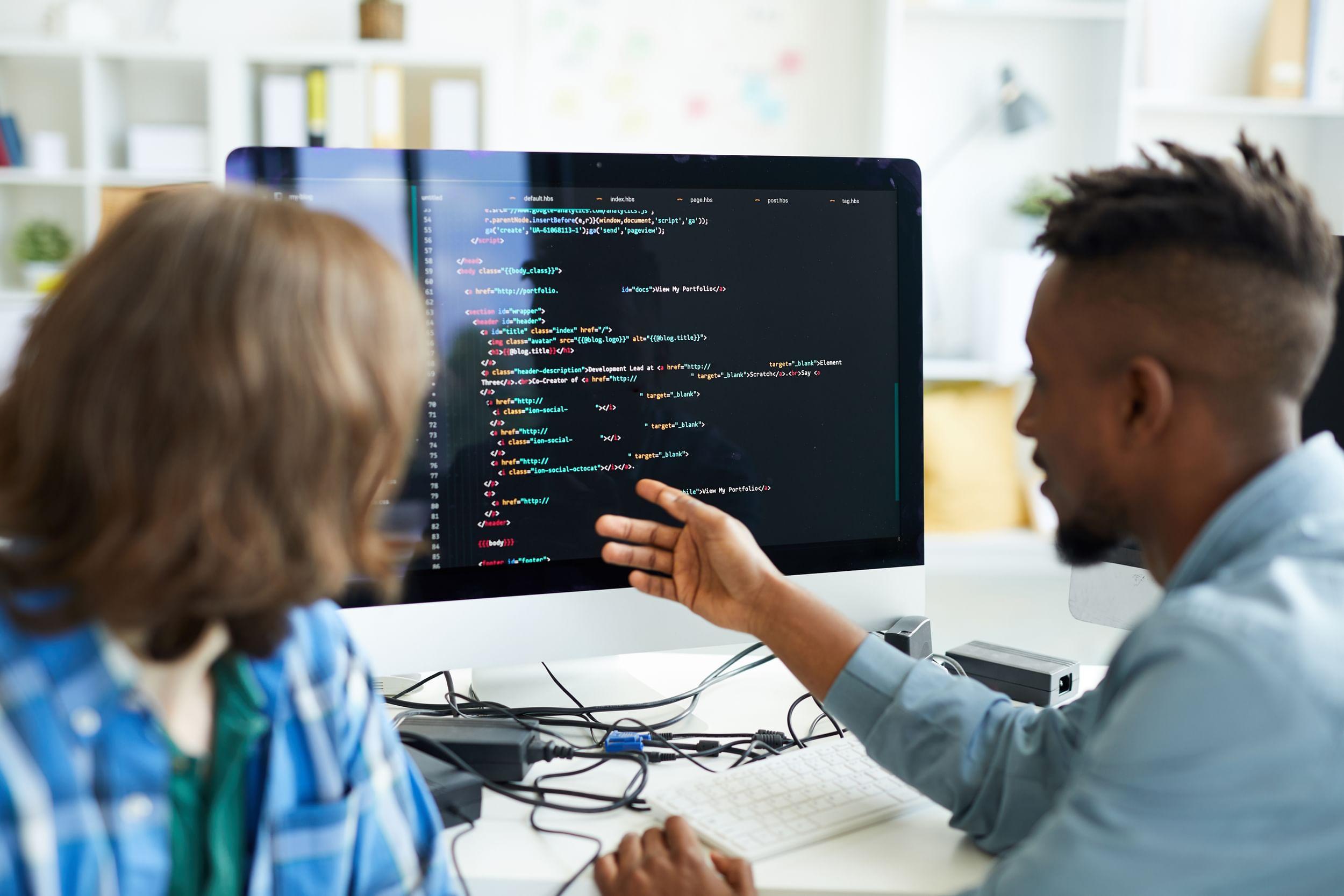 Lady and man at a computer