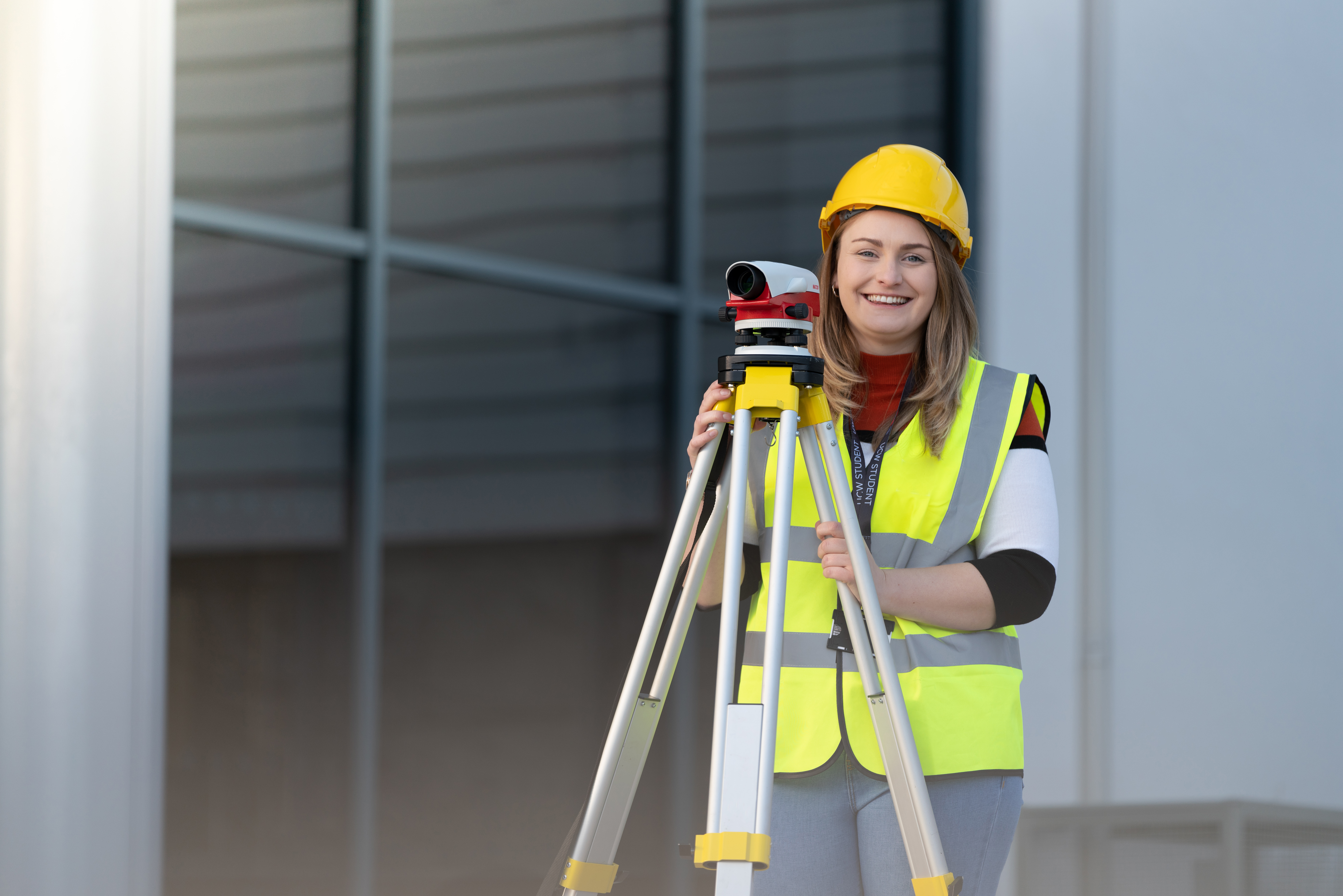 Woman in high visibility clothing at Weston College