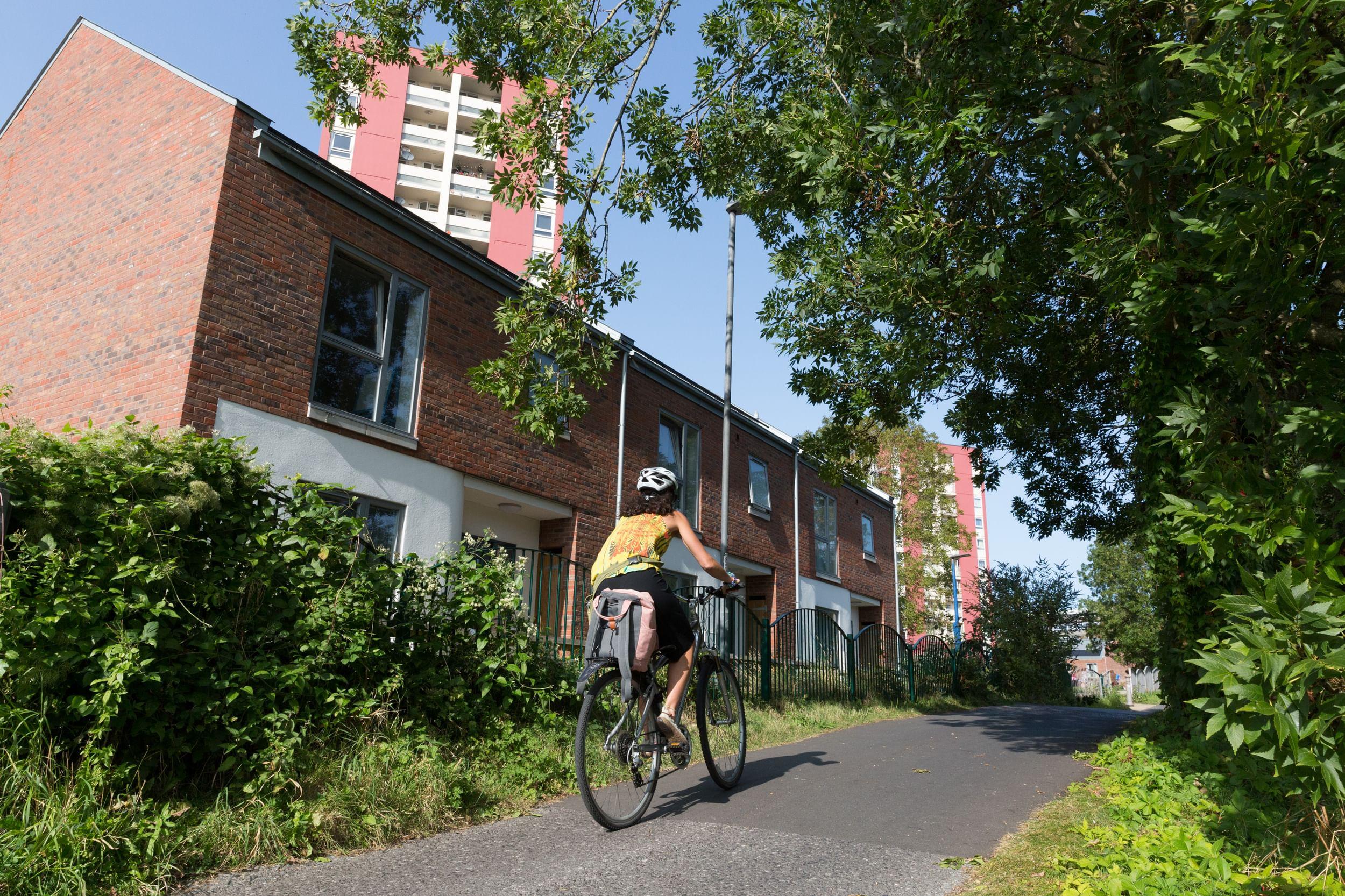 Cyclist in an urban area